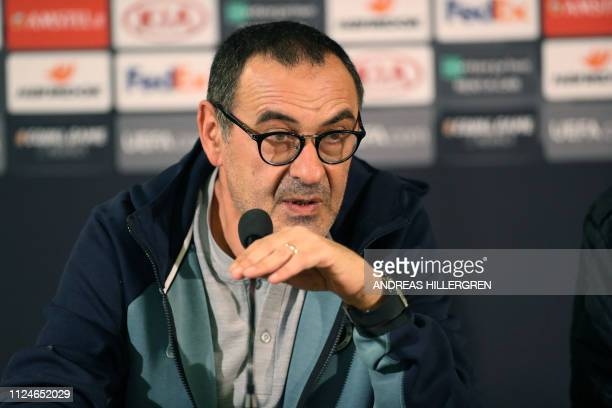 Chelsea's manager Maurizio Sarri speaks during a press conference in Malmo Sweden on February 13 2019 one day ahead of the Europa League first leg...