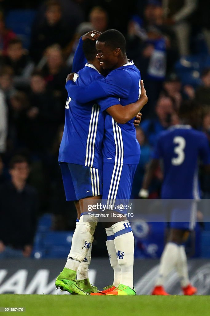 Chelsea's Marc Guess and Juan Castillo celebrate the teams win at the final whistle during the FA Youth Cup Semi Final Second Leg between Chelsea and Tottenham Hotspur at Stamford Bridge on March 18, 2017 in London, England.