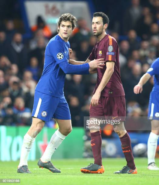 LR Chelsea's Marcos Alonso and Sergio Busquets of Barcelona during the Champions League Round of 16 match between Chelsea and Barcelona at Stamford...