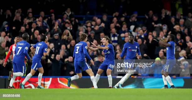 Chelsea's Marcos Alonso celebrates after scoring during the Premier League match between Chelsea and Southampton at Stamford Bridge on December 16...
