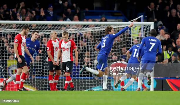 Chelsea's Marcos Alonso celebrates after scoring from a free kick during the Premier League match between Chelsea and Southampton at Stamford Bridge...