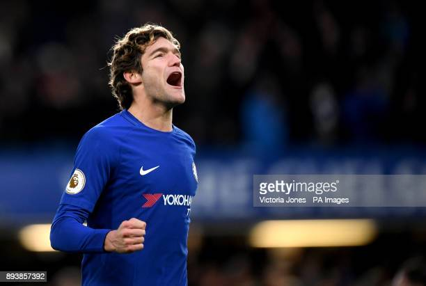 Chelsea's Marcos Alonso celebrates scoring his side's first goal of the game during the Premier League match at Stamford Bridge London