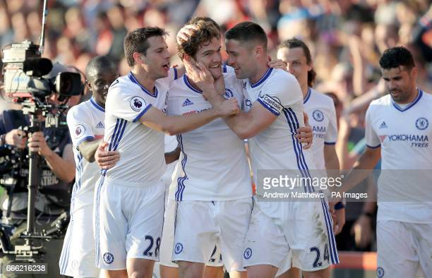 Chelsea's Marcos Alonso celebrates scoring his side's third goal of the game with team mates during the Premier League match at the Vitality Stadium...