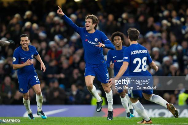 Chelsea's Marcos Alonso celebrates scoring the opening goal during the Premier League match between Chelsea and Southampton at Stamford Bridge on...