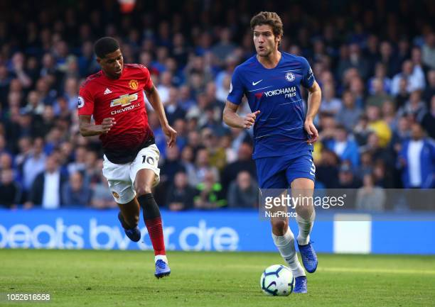 2018 Chelsea's Marcos Alonso during Premier League between Chelsea and Manchester United at Stamford Bridge stadium London England on 20 Oct 2018...