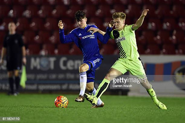 Chelsea's Mason Mount and Huddersfield Town's Jamie Spencer during a 3rd Rd FA Youth Cup match between Chelsea U18 and Huddersfield Town U18 at The...