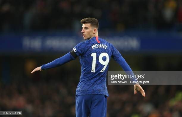 Chelsea's Mason Mount during the Premier League match between Chelsea FC and Manchester United at Stamford Bridge on February 17 2020 in London...