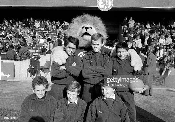 Chelsea's match day ball boys in a group before the Football League Division Two match between Chelsea and Bolton Wanderers at Stamford Bridge on...