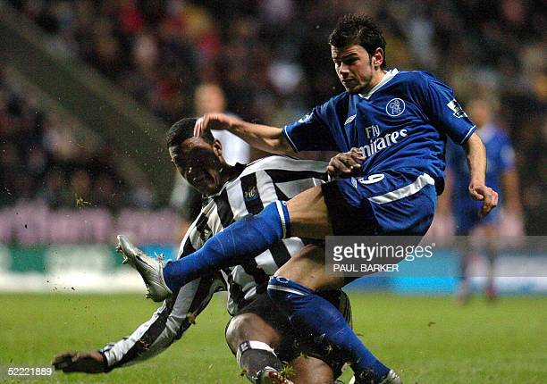 Chelsea's Mateja Kezman and Newcastle's Tius Bramble vie in an FA Cup clash at St James' Park Newcastle 20 February 2005