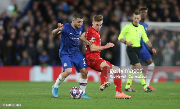 Chelsea's Mateo Kovacic and Bayern Munich's Joshua Kimmich during the UEFA Champions League round of 16 first leg match between Chelsea FC and FC...