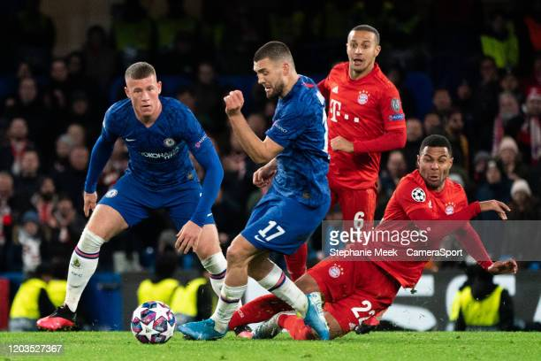 Chelsea's Mateo Kovacic battles for possession with Bayern Munich's Serge Gnabry during the UEFA Champions League round of 16 first leg match between...
