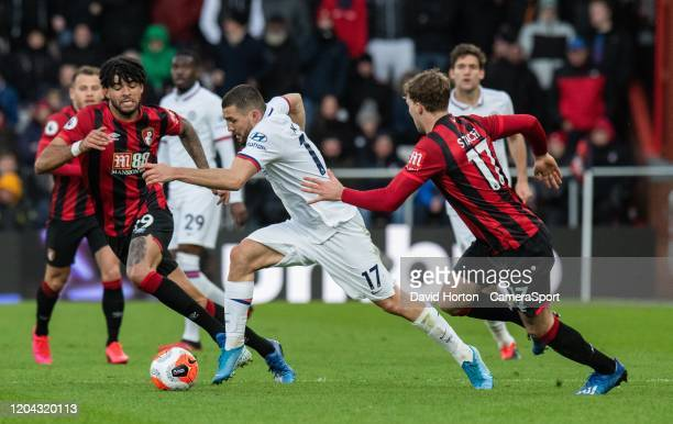 Chelsea's Mateo Kovacic under pressure from Bournemouth's Philip Billing and Jack Stacey during the Premier League match between AFC Bournemouth and...