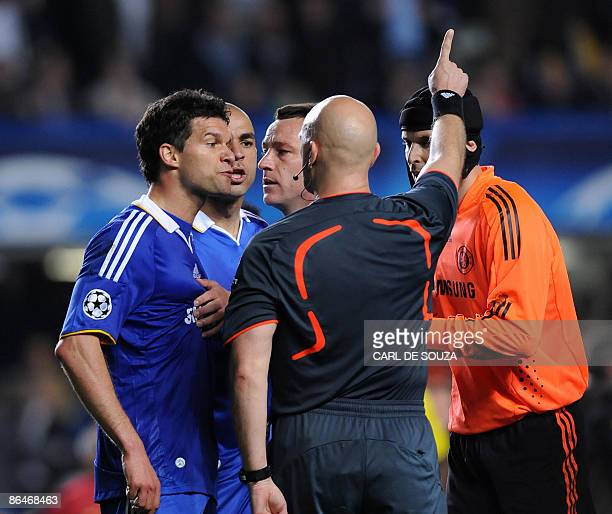 Chelsea's Michael Ballack argues with the referee during a second leg UEFA Champions League semifinal football match against Barcelona at Stamford...