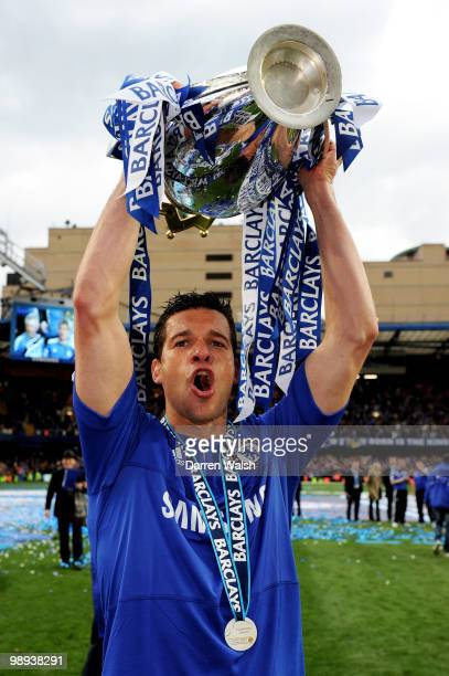 Chelsea's Michael Ballack celebrates with the trophy after winning the league with an 80 victory during the Barclays Premier League match between...