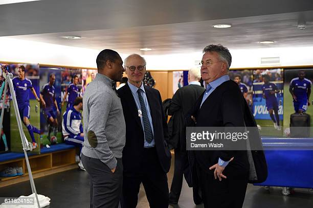 Chelsea's Michael Emenalo Bruce Buck and Guus Hiddink in the dressing room after a Barclays Premier League match between Chelsea and Sunderland at...