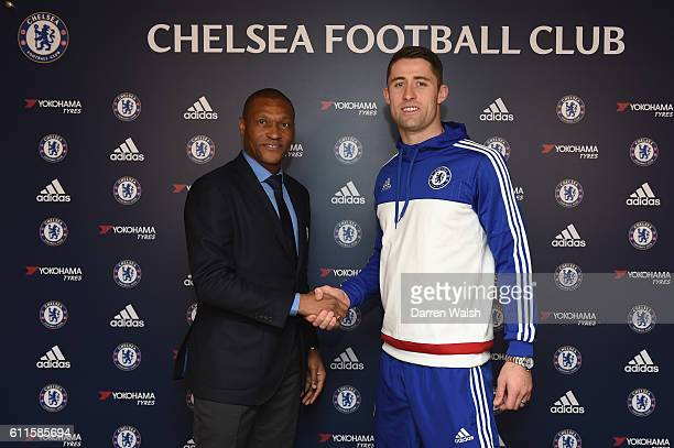 Chelsea's Michael Emenalo Gary Cahill after the announcement of Cahill's new contract at the Cobham Training Ground on 1st December 2015 in Cobham...