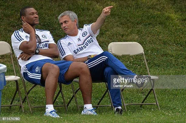 Chelsea's Michael Emenalo Jose Mourinho during a training session at the Catholic University on 2nd August 2013 in Washington DC USA