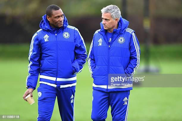 Chelsea's Michael Emenalo Jose Mourinho during a training session at the Cobham Training Ground on 20th November 2015 in Cobham England