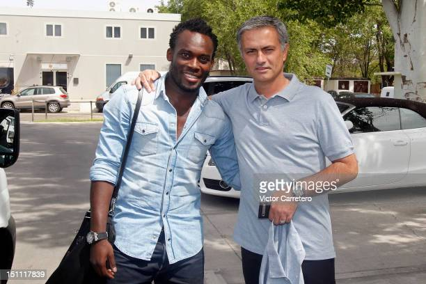 Chelsea's Michael Essien and Jose Mourinho head coach of Real Madrid before signing a seasonlong loan with Real Madrid on September 1 2012 in Madrid...