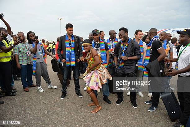 Chelsea's Michael Essien with charity match teammates Michael Ballack and Florent Malouda arriving at Accra International Airport for the Africa 11 v...