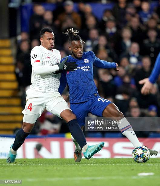 Chelsea's Michy Batshuayi and Lille's Magalhaes Gabriel battle for the ball Chelsea v Lille UEFA Champions League Group H Stamford Bridge