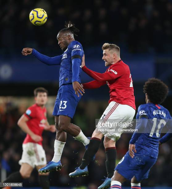 Chelsea's Michy Batshuayi and Manchester United's Luke Shaw during the Premier League match between Chelsea FC and Manchester United at Stamford...