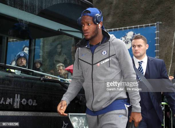 Chelsea's Michy Batshuayi arrives for the Premier League match at the AMEX Stadium Brighton