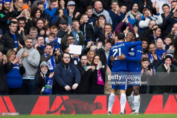 Chelsea's Michy Batshuayi celebrates with team mate Davide Zappacosta after scoring his side's second goal during The Emirates FA Cup Fourth Round...