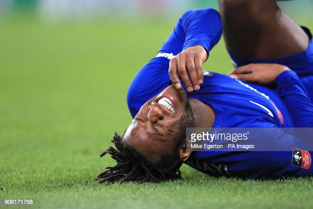 Chelsea's Michy Batshuayi lies on the pitch during the Emirates FA Cup Third Round Replay at Stamford Bridge London