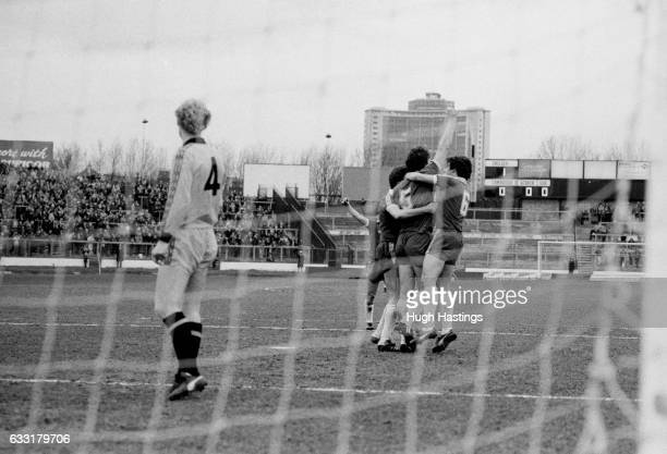 Chelsea's Micky Droy after scoring during the Football League Division Two match between Chelsea and Cambridge United at Stamford Bridge London on...