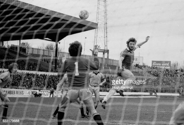 Chelsea's Micky Droy scores with a flying header during the Football League Division Two match between Chelsea and Cambridge United at Stamford...