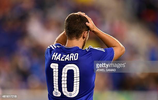 Chelsea's midfielder Eden Hazard reacts after missing to goal during their International Champions Cup match at the Red Bull Arena in Harrison New...