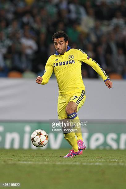 Chelsea's midfielder Mohamed Salah in action during the UEFA Champions League match between Sporting Clube de Portugal and Chelsea Foottball Club on...