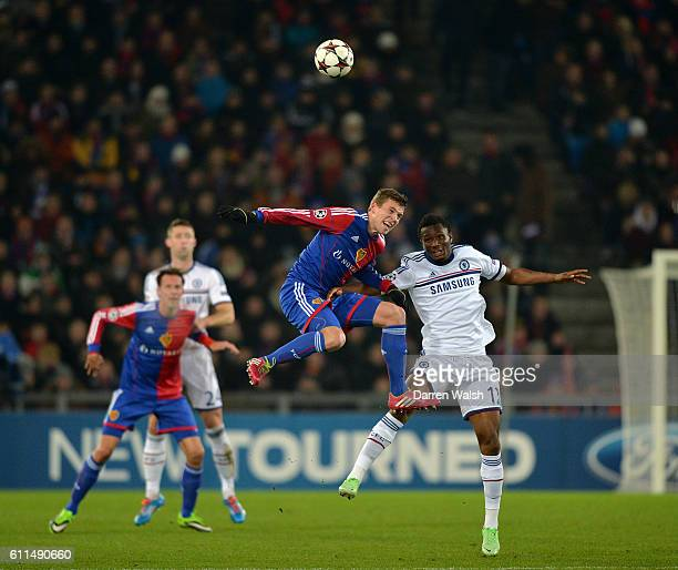 Chelsea's Mikel and Basel's Fabian Frei battle for the ball during a UEFA Champions League Group E match between FC Basel and Chelsea on 26th...
