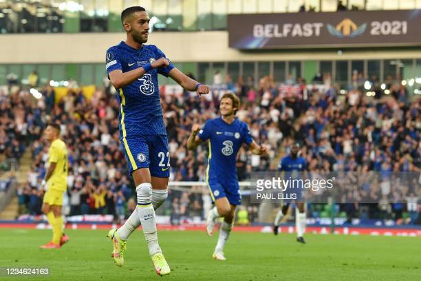 Chelsea's Moroccan midfielder Hakim Ziyech celebrates scoring the opening goal during the UEFA Super Cup football match between Chelsea and...