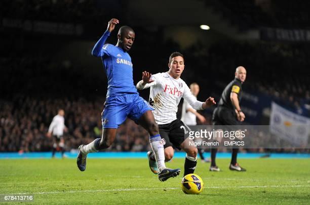 Chelsea's Nascimento Ramires and Fulham's Kerim Frei battle for the ball