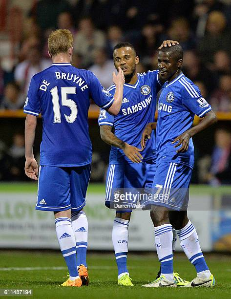Chelsea's Nascimento Ramires celebrates scoring his teams second goal of the game with teammates Kevin De Bruyne and Ryan Bertrand