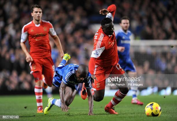 Chelsea's Nascimento Ramires takes a tumble after battling for the ball with Southampton's Victor Wanyama