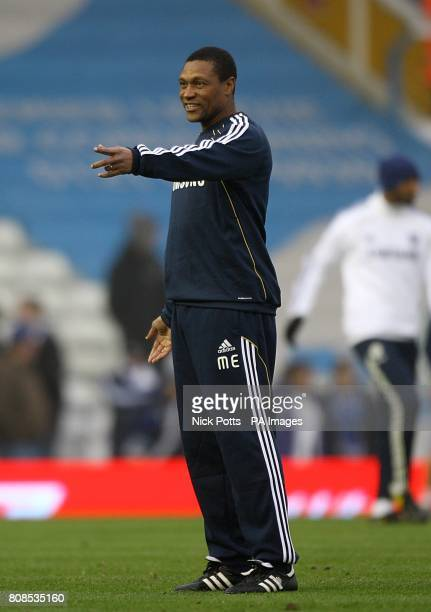 Chelsea's new assistant first team coach Michael Emenalo gestures during the prematch warm up