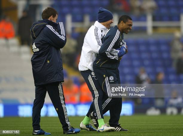 Chelsea's new assistant first team coach Michael Emenalo having fun with the players during the prematch warm up