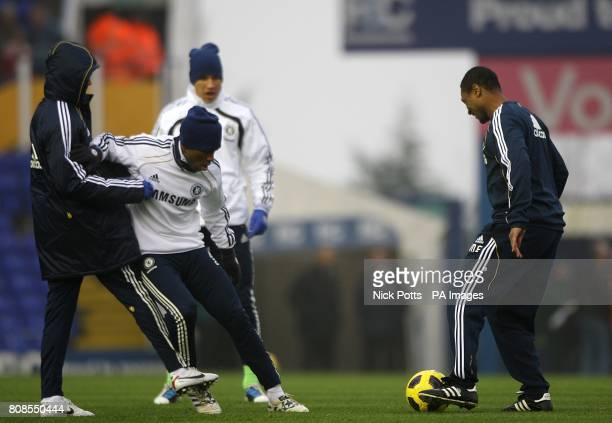Chelsea's new assistant first team coach Michael Emenalo takes part in the pre match warm up