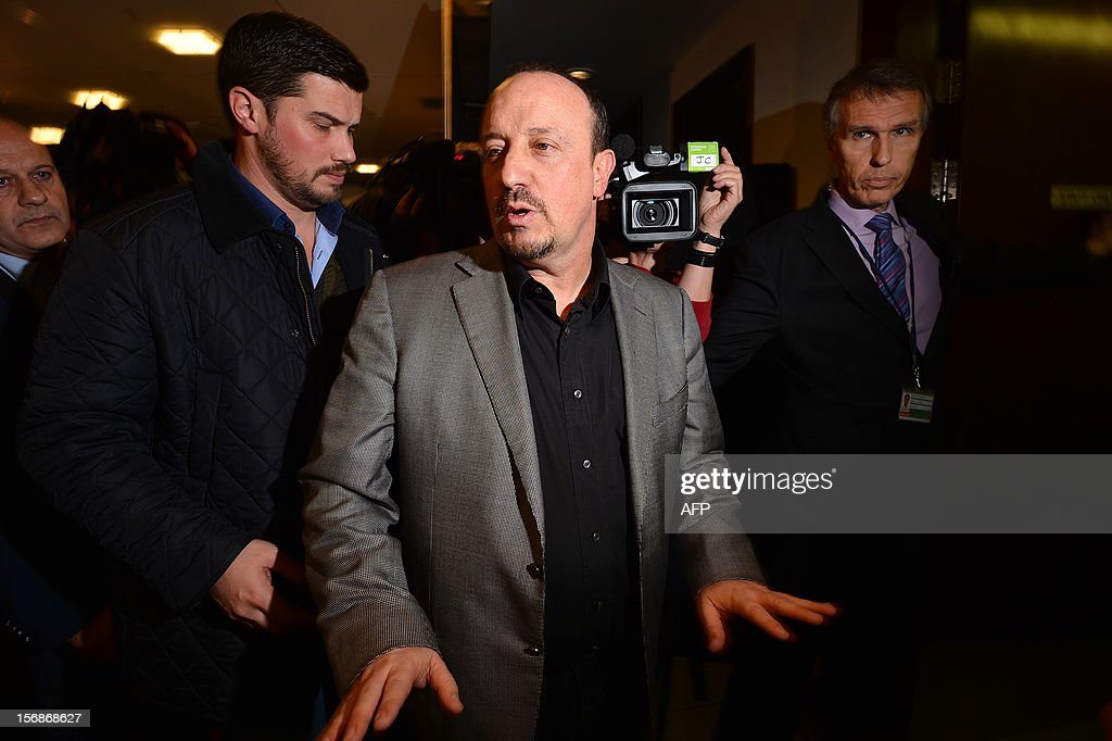 Chelsea's new interim manager Spain's Rafael Benitez gestures as he leaves following a press conference at Stamford Bridge in London on November 22, 2012. Benitez tried to overcome hostility from Chelsea fans angry with his appointment as interim manager by insisting both he and they wanted the same things. The Spaniard started life with the European champions on November 22 after the London club sacked its Italian manager Roberto di Matteo.