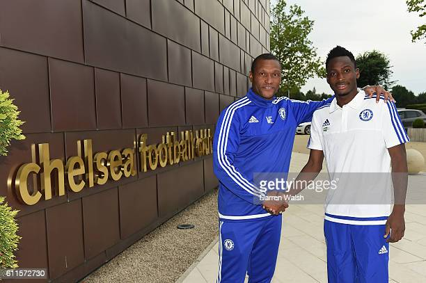 Chelsea's new signing Baba Rahman with Chelsea's Technical director Michael Emenalo at the Cobham Training Ground on 18th August 2015 in Cobham...