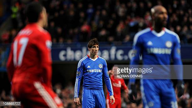 Chelsea's new signing Fernando Torres looks on during the game against Liverpool during the Premiership football match at Stamford Bridge in London...