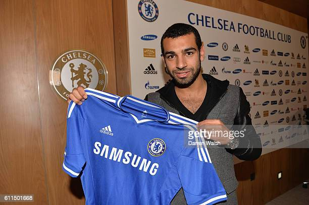 Chelsea's new signing Mohamed Salah at the Cobham Training Ground on 31st January 2014 in Cobham England