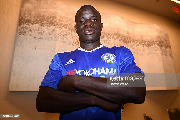 Chelsea's new signing N'Golo Kante poses for a photo during the club's preseason US tour at Loews Hotel on August 3 2016 in Minneapolis Minnesota