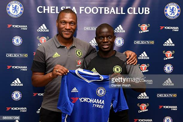 Chelsea's new signing N'Golo Kante poses for a photo with technical director Michael Emenalo during the club's preseason US tour at Loews Hotel on...