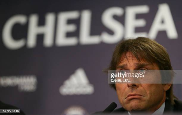 Chelsea's newly appointed Italian manager Antonio Conte speaks during a press conference at the club's Stamford Bridge stadium in London on July 14...