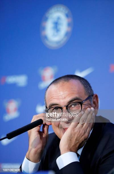 Chelsea's newly appointed manager, Maurizio Sarri, reacts during his unveiling press conference at Stamford Bridge in west London on July 18, 2018. -...