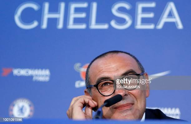 Chelsea's newly appointed manager Maurizio Sarri speaks during his unveiling press conference at Stamford Bridge in west London on July 18 2018 New...